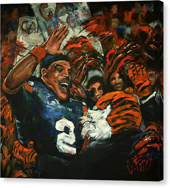 Cam Newton Canvas Print - Hi Five Victory by Carole Foret