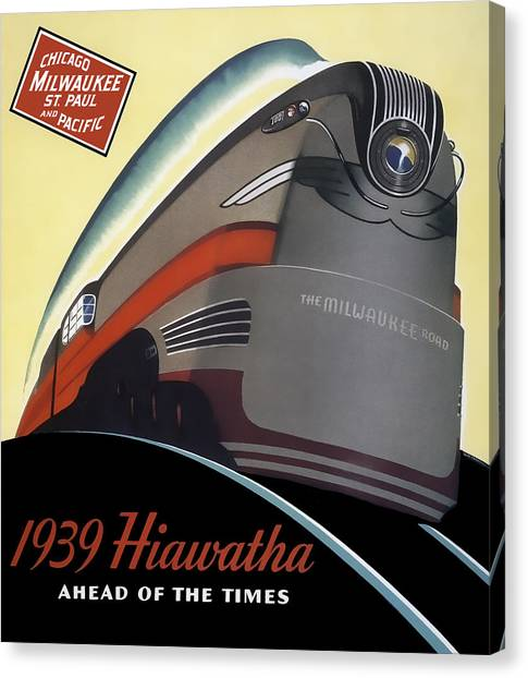 Trainspotting Canvas Print - Hiawatha Streamlined Train 1939 by Daniel Hagerman