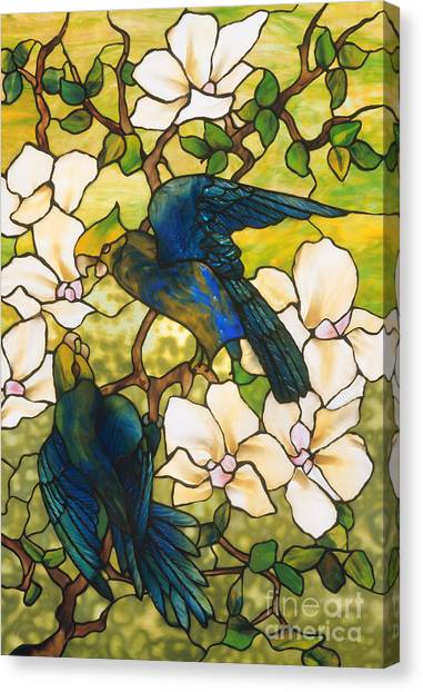 Lovebirds Canvas Print - Hibiscus And Parrots by Louis Comfort Tiffany