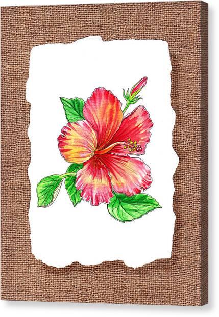 Hibiscus Canvas Print - Hibiscus Flower Botanical by Irina Sztukowski