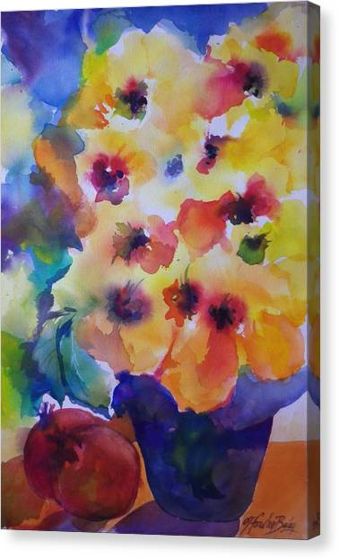Hibiscus In Yellow Canvas Print by Therese Fowler-Bailey
