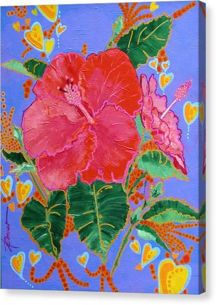 Hibiscus Motif Canvas Print