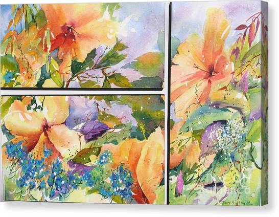 Hibiscus Triptych Canvas Print