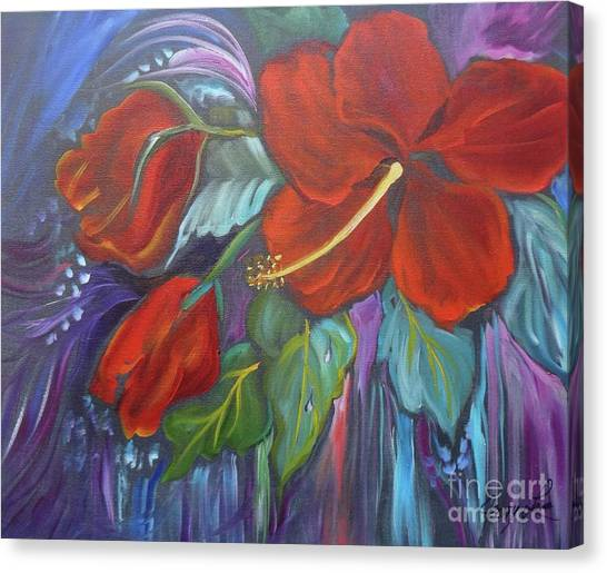 Hibiscus Whimsy Canvas Print