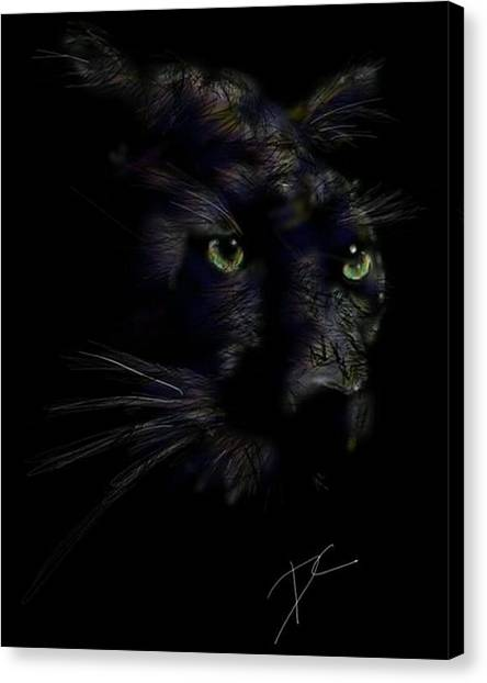 Canvas Print featuring the digital art Hidden Cat by Darren Cannell