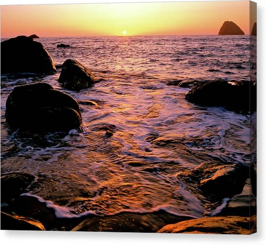 Hidden Cove Sunset Redwood National Park Canvas Print