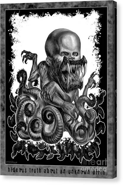 Hideous Truth About An Unknown Birth Canvas Print