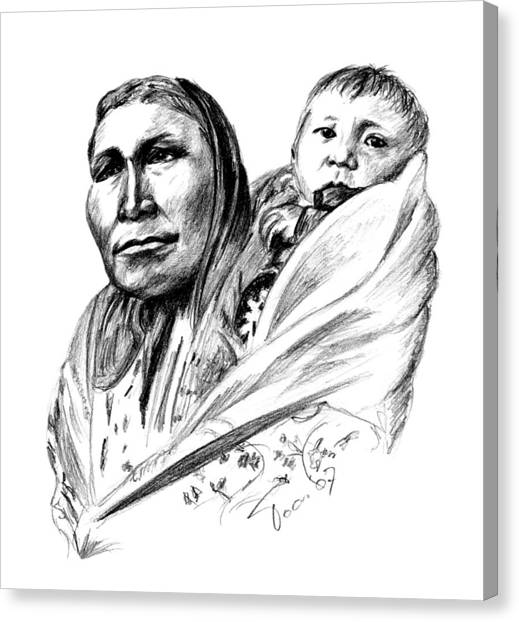 Hiditcha Woman With Child Canvas Print