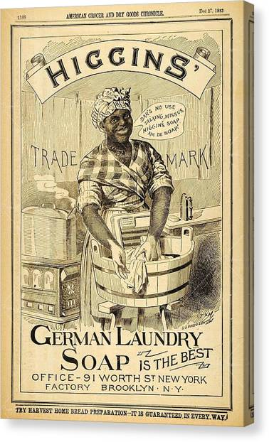 Canvas Print featuring the digital art Higgins German Laundry Soap by ReInVintaged
