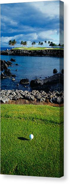 Dugouts Canvas Print - High Angle View Of A Golf Ball On A Tee by Panoramic Images