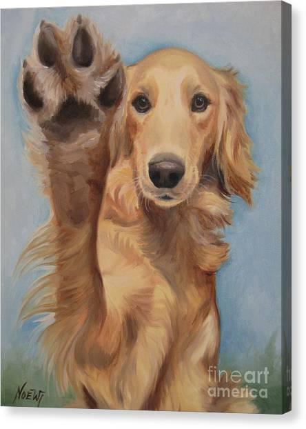 Golden Retrievers Canvas Print - High Five by Jindra Noewi