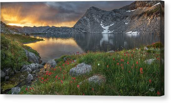 Light Paint Canvas Print - High Mountain Morning In Idaho by Leland D Howard