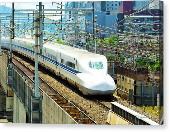 Bullet Trains Canvas Print - High Speed Bullet Train Middle Tracks Approaching by Pius Lee
