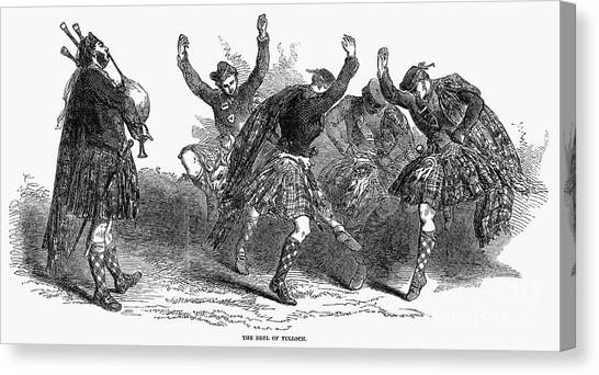 Bagpipes Canvas Print - Highland Dancers, 1849 by Granger