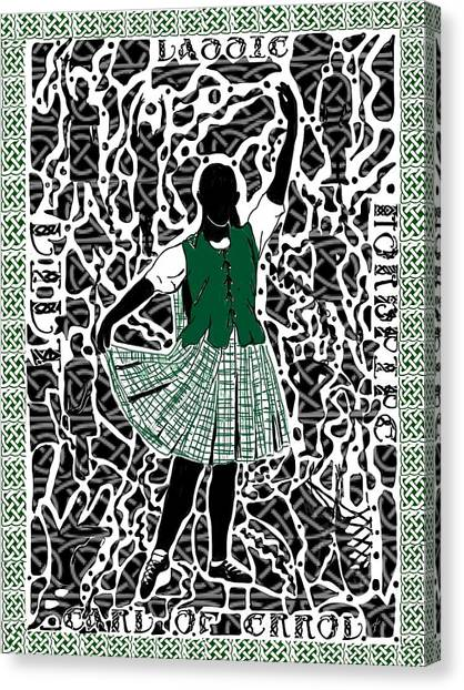 Canvas Print featuring the digital art Highland Dancing by Darren Cannell