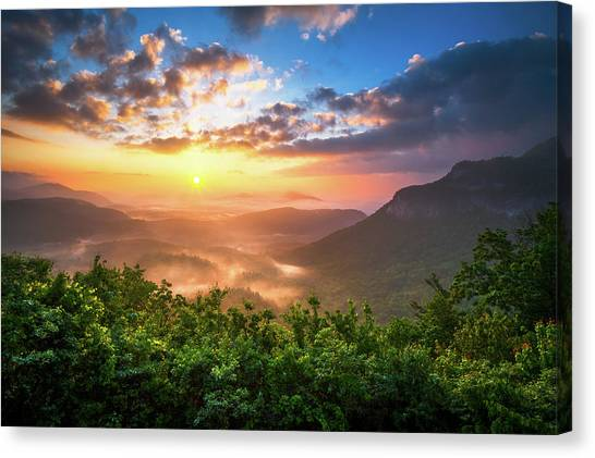 Mountain Sunrises Canvas Print - Highlands Sunrise - Whitesides Mountain In Highlands Nc by Dave Allen