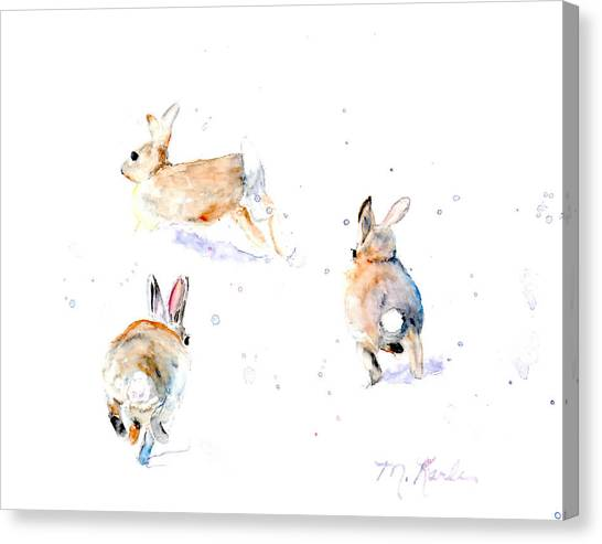 Hightailing Bunnies Canvas Print