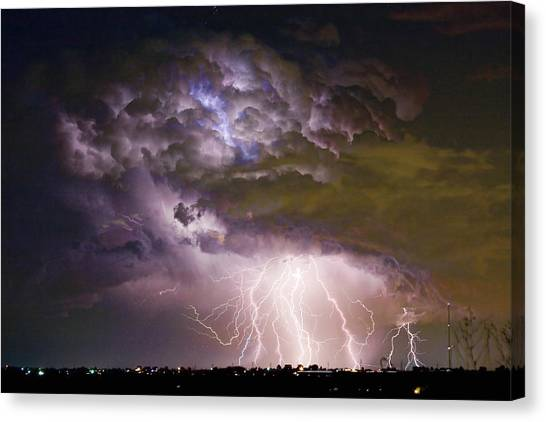 Highway 52 Storm Cell - Two And Half Minutes Lightning Strikes Canvas Print