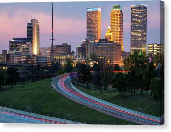 Highway View Of The Tulsa Skyline At Dusk Canvas Print