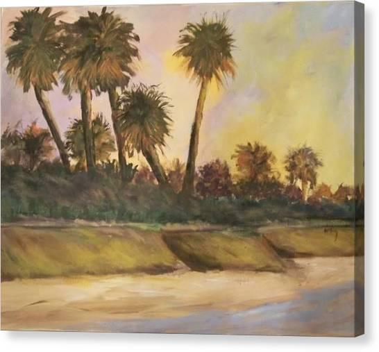highwaymen art style landscape serene beach palm trees original oil