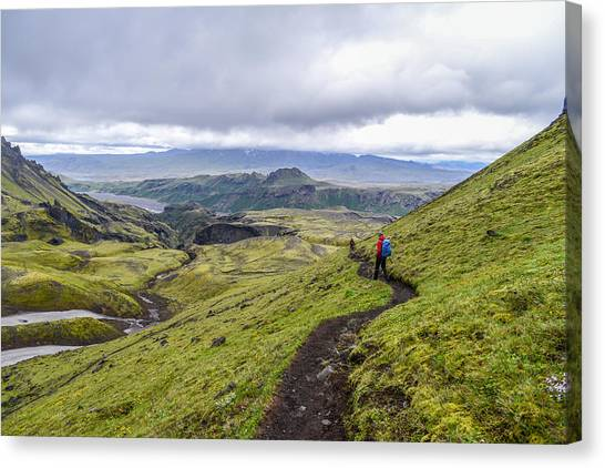 Hiking Into Thorsmork On The Fimmvorduhals Trail Canvas Print