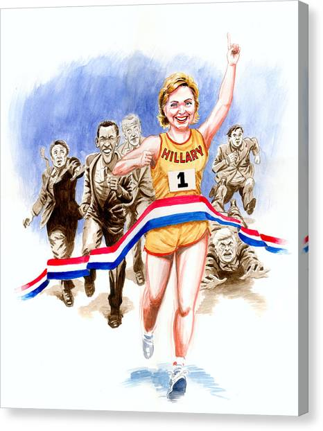 Bill Clinton Canvas Print - Hillary And The Race by Ken Meyer
