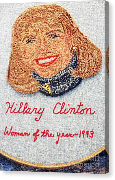 Bill Clinton Canvas Print - Hillary Clinton Woman Of The Year by Randall Weidner