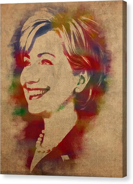 Bill Clinton Canvas Print - Hillary Rodham Clinton Watercolor Portrait by Design Turnpike