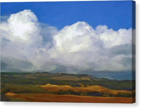 Hills And Clouds Canvas Print by Thomas  Hansen