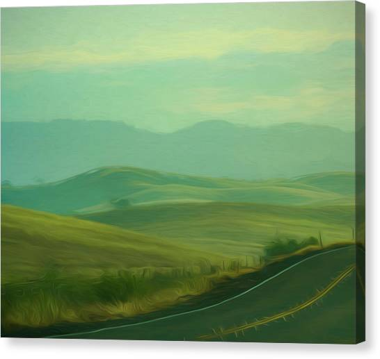 Hills In The Early Morning Light Digital Impressionist Art Canvas Print