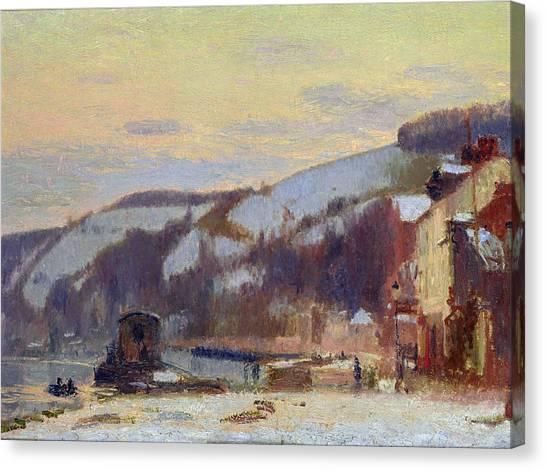 Snow Bank Canvas Print - Hillside At Croisset Under Snow by Joseph Delattre
