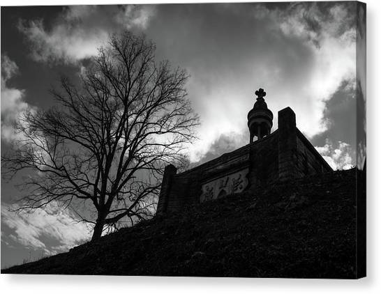 Canvas Print featuring the photograph Hilltop Memorial  by James L Bartlett