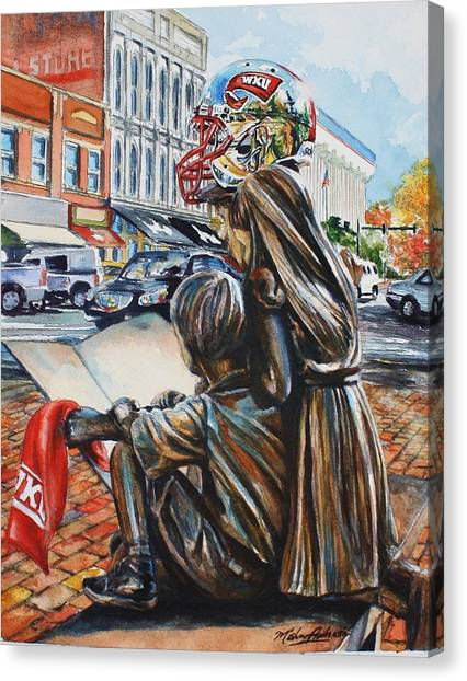Western Kentucky University Wku Hilltoppers Canvas Print - Hilltopper Fans In Fountain Square by Misha Ambrosia