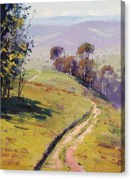 Gum Trees Canvas Print - Hilly Landscape Lithgow by Graham Gercken