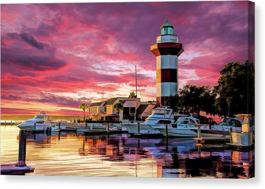 Canvas Print featuring the painting Hilton Head Harbour Town Lighthouse by Christopher Arndt