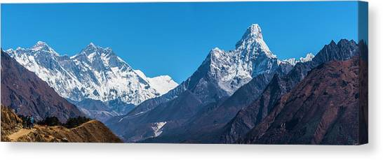 Canvas Print featuring the photograph Himalayan Peaks En Route To Base Camp by Owen Weber
