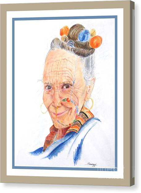 Himalayan Smile Lines -- Portrait Of Old Asian Woman Canvas Print