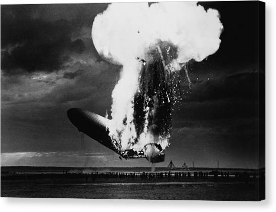 Blimps Canvas Print - Hindenburg Disaster - Zeppelin Explosion Photo by War Is Hell Store