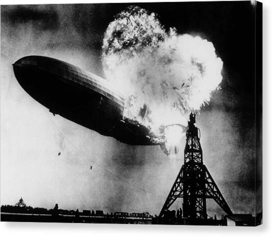 Blimps Canvas Print - Hindenburg Disaster - Zeppelin Explosion by War Is Hell Store
