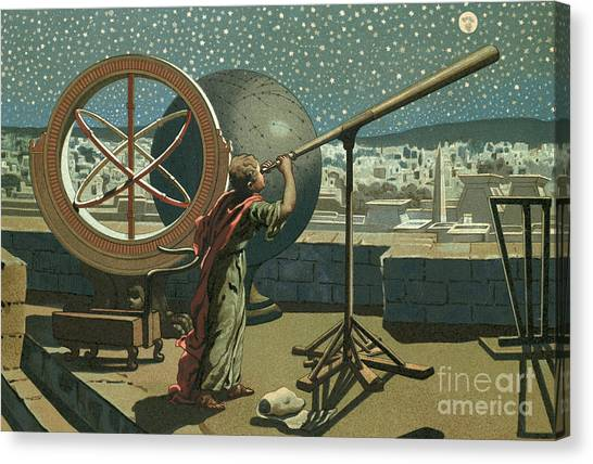 Astrology Canvas Print - Hipparchus In The Observatory In Alexandria by Josep or Jose Planella Coromina