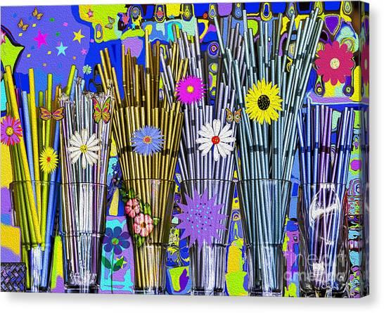 Canvas Print featuring the digital art Hippie Hippie Straws by Eleni Mac Synodinos