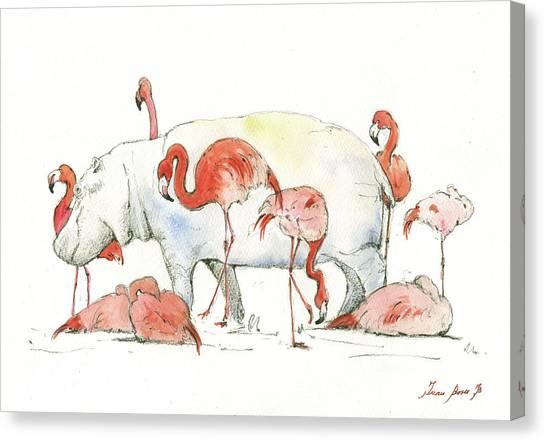 Hippos Canvas Print - Hippo And Flamingos by Juan Bosco