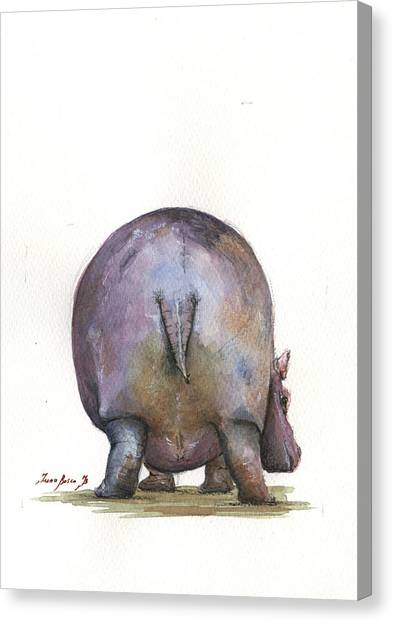 Hippos Canvas Print - Hippo Back by Juan Bosco