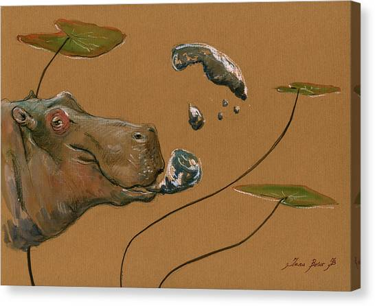 Hippos Canvas Print - Hippo Bubbles by Juan  Bosco