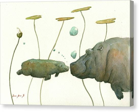 Hippos Canvas Print - Hippo Mom With Babyv by Juan Bosco