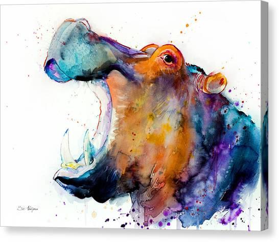 Hippopotamus Canvas Print - Hippo by Slavi Aladjova