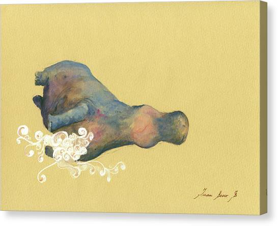 Hippos Canvas Print - Hippo Swimming by Juan Bosco
