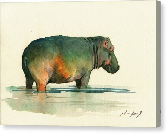 Hippos Canvas Print - Hippo Watercolor Painting by Juan  Bosco