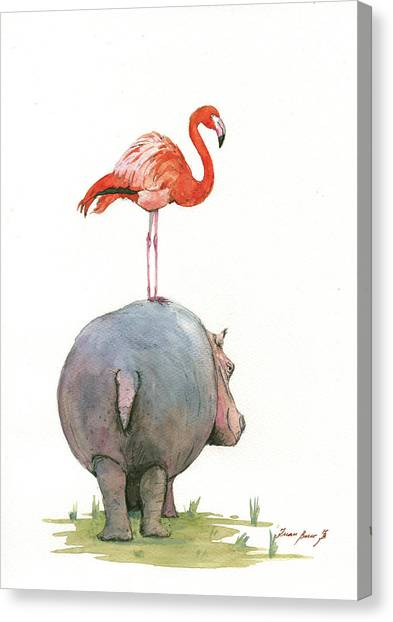 Hippos Canvas Print - Hippo With Flamingo by Juan Bosco