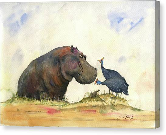Hippos Canvas Print - Hippo With Guinea Fowls by Juan Bosco